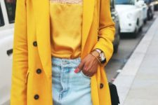 02 a bleached denim mini, a yellow lace top, a yellow oversized blazer and a black bag for a bright summer look