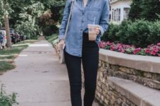 02 a double denim look with a blue chambray shirt, black raw hem jeans and nude loafers