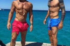 02 bright hot pink and bright blue trunks will make a statement at the beach or yacht party