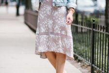 03 a blush floral midi dress with a blue denim jacket, white slippers and a matching bag