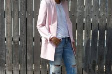 03 a bright summer look with ripped jeans, a white tee, light pink oversized blazer, red strappy shoes