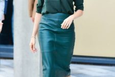 03 a dark green shirt, a teal pencil midi skirt, nude shoes by Meghan Markle