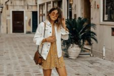 03 a yellow floral mini dress, an oversized white denim jacket, white sneakers and a brown bag