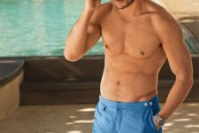 03 bright blue swim trunks with a vintage design is a hot and trendy option to rock this summer