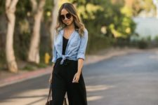 04 a black culotte jumosuit, black heels, a chambray shirt and a black tote – take off the shirt and get to work