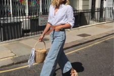 04 a white shirt, blue straight jeans, espadrilles and a wicker basket bag for a cozy transitional look