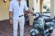 04 a white shirt, striped pants, neutral loafers with tassels for a relaxed summer outfit look