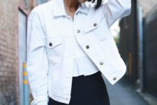 04 a white tee, a black mini and a white denim jacket is a ready office look with a touch of summer