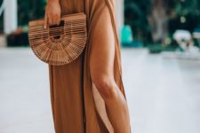 05 a comfy maxi long skirt in an earthy tone with ties is a super comfy idea for a bottom coverup