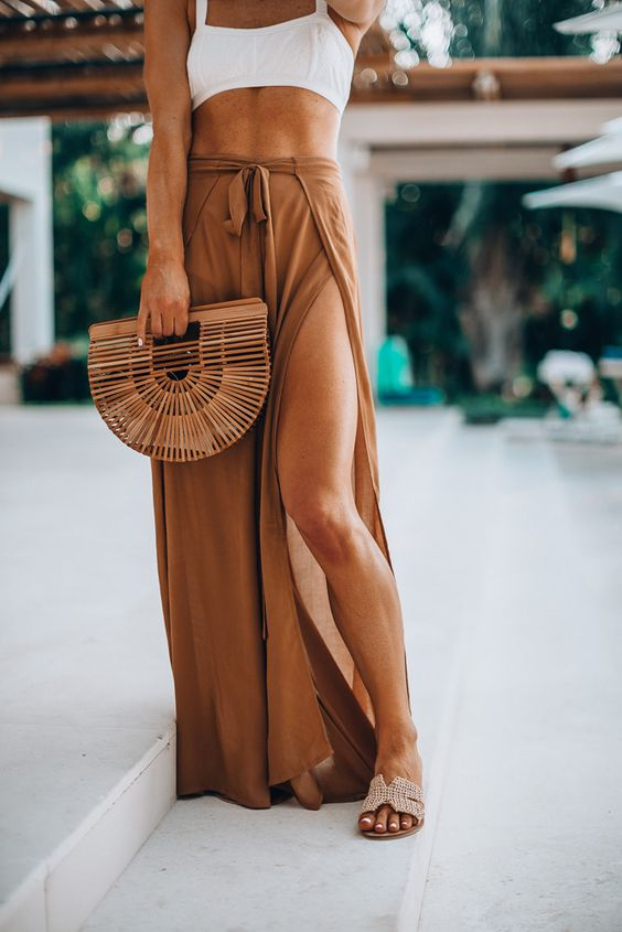 a comfy maxi long skirt in an earthy tone with ties is a super comfy idea for a bottom coverup
