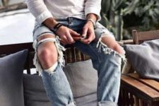 05 a linen shirt, blue distressed jeans, white espadrilles for an effortlessly chic and relaxed look
