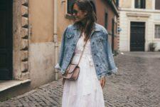 05 a romantic white midi dress, animal print slipons, a blush bag and an oversized denim jacket