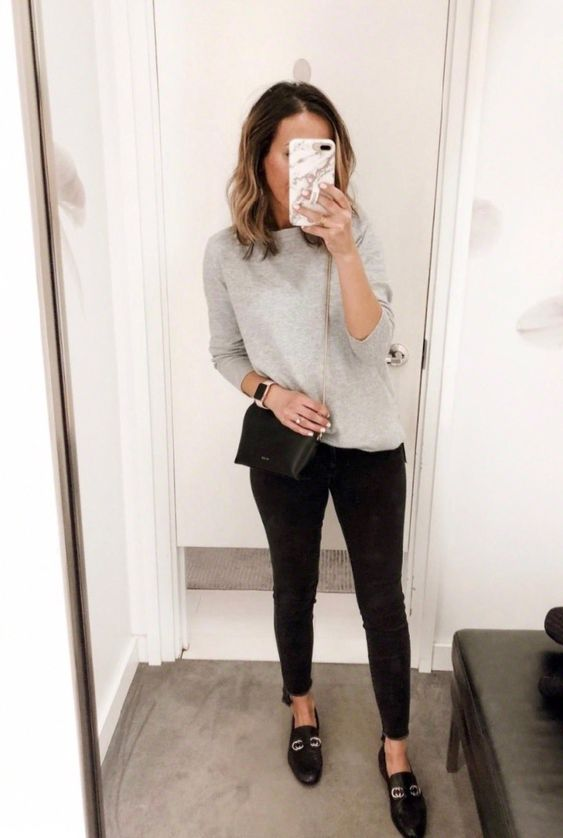 a simple everyday look with a grey top, black skinnies and black loafers is a nice idea for a hard-to-dress day