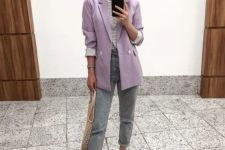 05 grey rolled up jeans, white shoes, a striped tee, an oversized lavender blazer and a crochet bag