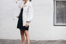 06 a black mini dress, an oversized white denim jacket, red strappy shoes
