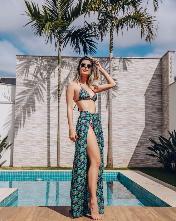 a maxi wrap skirt fully matching the top of the bikini is a way to have a suit every time