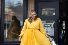 06 a sunny yellow midi dress with a pleated skirt, nude shoes and an acrylic bag