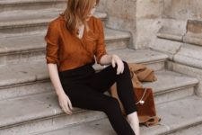 07 a gorgeous retro-inspired look with black cropped skinnies, a rust-colored shirt and matching mules plus a bag