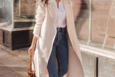 07 a white button down, blue high waisted jeans, brown shoes and a creamy coat for university casuals