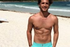 07 bright turquoise short swim trunks with pockets are a comfortable idea to wear to the beach