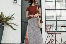 08 a printed grey midi skirt with a side slit is a very comfy piece to wear to the beach