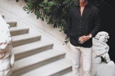 08 an elegant outfit with neutral pants, a black shirt, black espadrilles is monochromatic classics