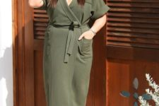 08 an olive green wrap dress with short sleeves, snake print shoes for a stylish fall outfit