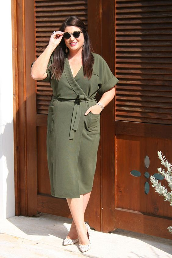 an olive green wrap dress with short sleeves, snake print shoes for a stylish fall outfit