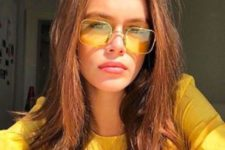 08 bright yellow sunglasses with thin gold frames are a very sunny and cool accessory