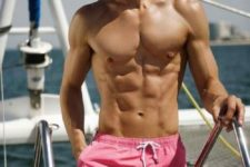 08 hot pink swim trunks is a cool idea for a guy who isn't afraid of traditionally women colors