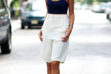 08 long white bermuda shorts, a navu crop top, black heels for a formal yet very sexy look – add a blazer and go to work