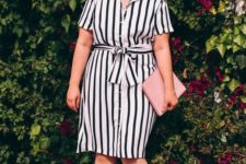 09 a black and white knee dress with white shoes and a pink clutch is a hot idea for summer