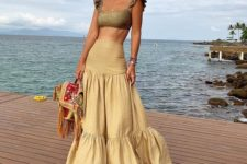09 a statement yellow maxi skirt with a slight ruffle is a gorgeous idea to create a feminine and gypsy look