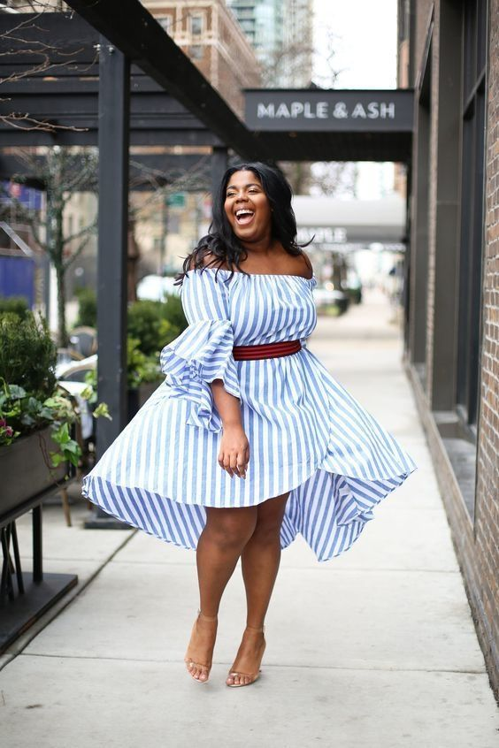 a striped off the shoulder blue knee dress with a red sash and nude heels for a chic brucnh outfit