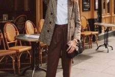 09 rust cropped pants, a white tee, a plaid jacket, bblack loafers and a black bag for the fall
