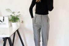 10 a black turtleneck, grey cropped pants and white sneakers for a modern and comfy look