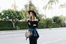 11 a black fitting off the shoulder dress, a denim jacket, a black hat, floral loafers and a brown bag