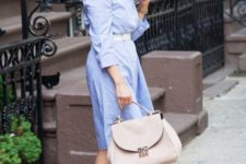 11 a blue shirtdress, a white belt, nude shoes and a bblush bag for going to work with much comfort