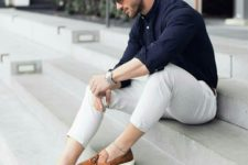 11 a bold party look with neutral pants, a navy shirt, brown moccasins is ultimate elegance
