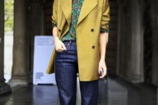 11 a bright look with navy jeans, a printed shirt, a mustard oversized blazer and printed shoes