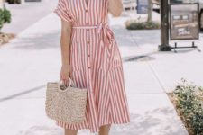 11 a striped red and white midi dress with buttons, embellished nude heels anad a straw bag for a summer look