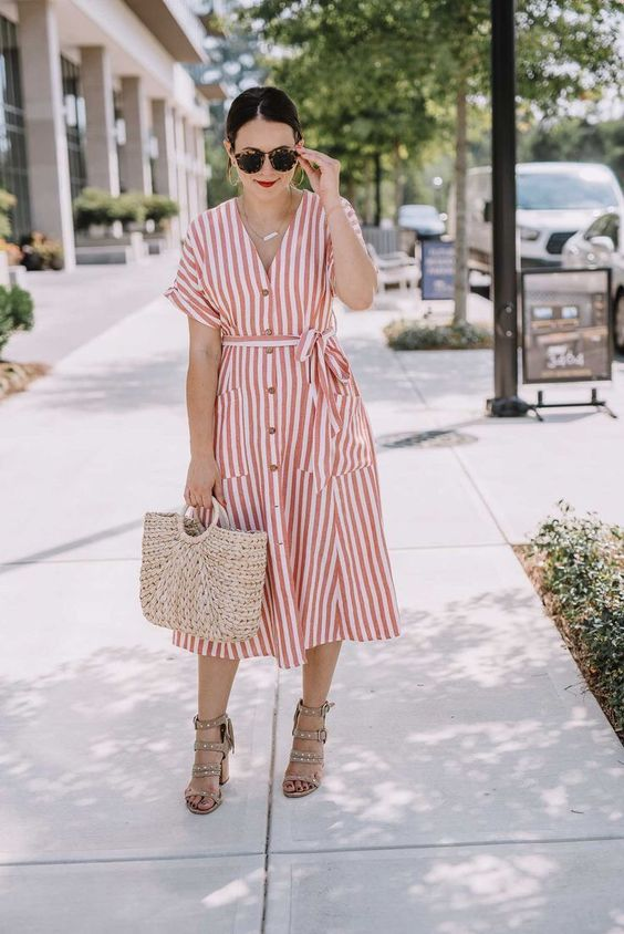 a striped red and white midi dress with buttons, embellished nude heels anad a straw bag for a summer look