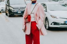 12 a bright look with red pants, a color block top, an oversized pink blazer, printed shoes and a red bag
