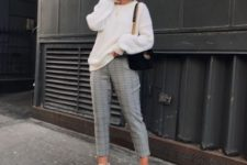 12 a creamy sweater, plaid cropped pants, white sneakers and a black bag for a casual studies look
