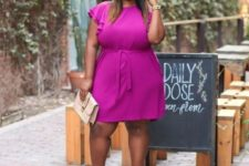 12 a fuchsia knee dress with ruffled sleeves, creamy shoes and a mathing clutch for  summer work look