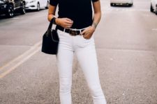 12 a simple look with white raw hem jeans, a black tee, black heels and a black bucket bag