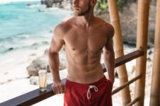 12 red long sporty swim trunks are a nice choice for many seasons, they will be in trend like always