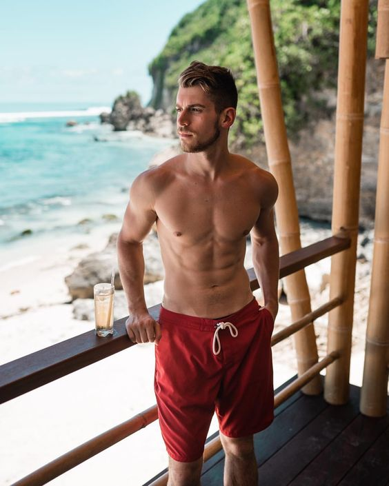 red long sporty swim trunks are a nice choice for many seasons, they will be in trend like always