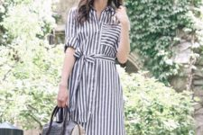 13 a grey striped midi shirtdress with rolled up sleeves, a comfy bag and metallic shoes for a simple and chic look