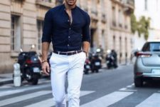 13 a stylish outfit suitable for parties, white pants, brown moccasins, a navy shirt